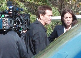 Award-winning actor Kevin Bacon, star of the Fox television show The Following, prepares to film a scene at Warwick Municipal Airport Oct. 24. Photo courtesy of Frank Galella III.