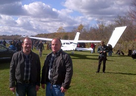 Real-life pilot Frank Galella III, at right, and his television double on a location shoot for The Following Oct. 24. Photo courtesy of Frank Galella.
