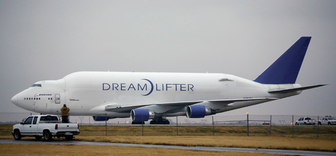 A Boeing Dreamlifter that landed at Colonel James Jabara Airport instead of McConnell Air Force Base successfully took off Nov. 21 for the 8-nautical-mile-hop to McConnell. Photo Credit Associated Press, Jaime Green.