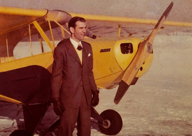 Clancy Hess with a 40-horsepower Taylorcraft.
