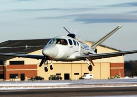 The second conforming SF50 personal jet lifts off on a test flight. Cirrus Aircraft photo.