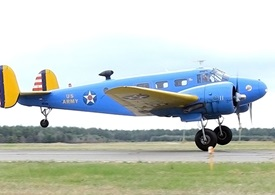 Trinque's C-45H lifts off from PYM, bound for breakfast.