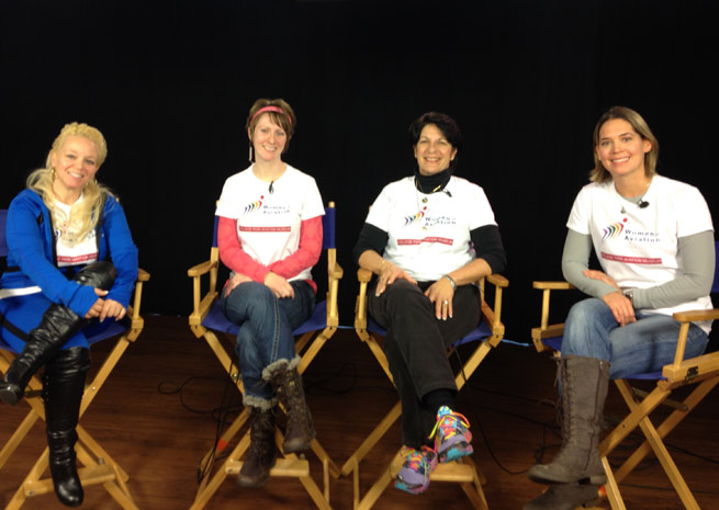 Left to right: Wing walker Jana Leigh McWhorter,  Women of Aviation Worldwide Week U.S Team Leader Victoria Neuville Zajko, Aerobatic pilot Jacquie Warda, and Aerobatic pilot Melissa Pemberton.