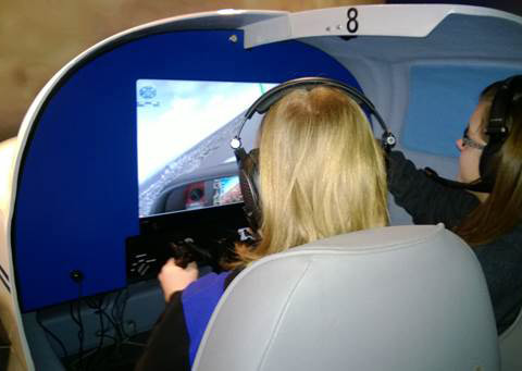 The Seattle Museum of Flight recently opened a refurbished Aviation Learning Center with a simulator room featuring 10 AOPA Jays by Redbird. Photo by Brandon Seltz.
