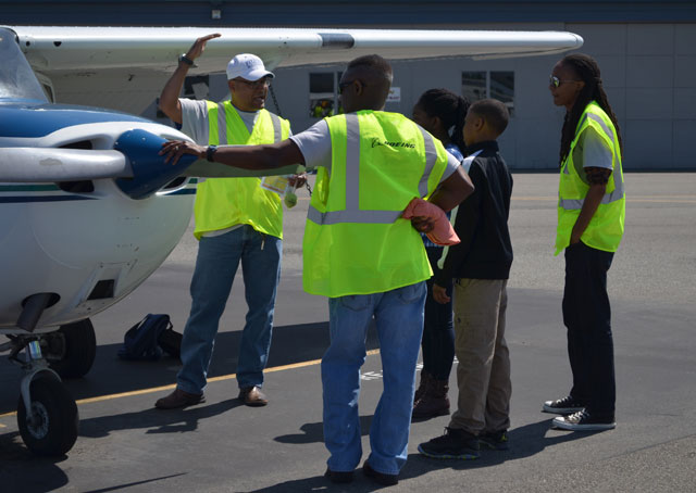 The Red-tail Hawks Flying Club's student members at Paine Field.