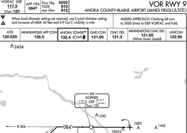 VOR Runway 9 instrument approach to Anoka County-Blaine Airport. Click to see the full approach plate.