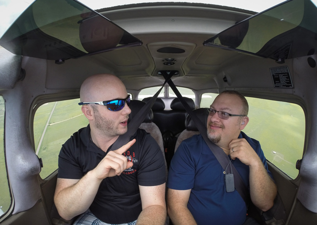 Anthony Thomas (left) and Todd Barker fly together out of Colorado Springs Municipal Airport. Radio communication is not required outside of the field's Class C airspace.