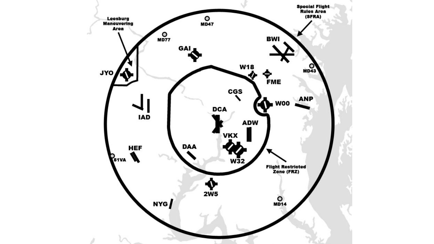 The Maryland 3 refers to the following airports within the FRZ: College Park Airport (CGS), Potomac Airfield (VKX), and Washington Executive/Hyde Field (W32).