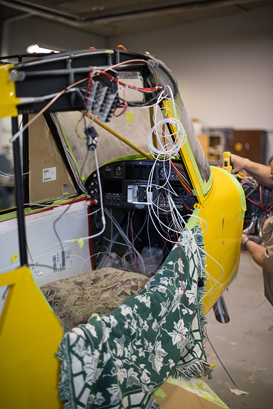 There's logic in this madness of wires for the instrument panel and aircraft lights. Photo courtesy of Aerotronics.