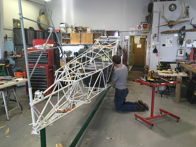 Baker Air Service's Darin Meggers is meticulous in his work restoring the AOPA Sweepstakes Super Cub. Photo courtesy of Baker Air Service.