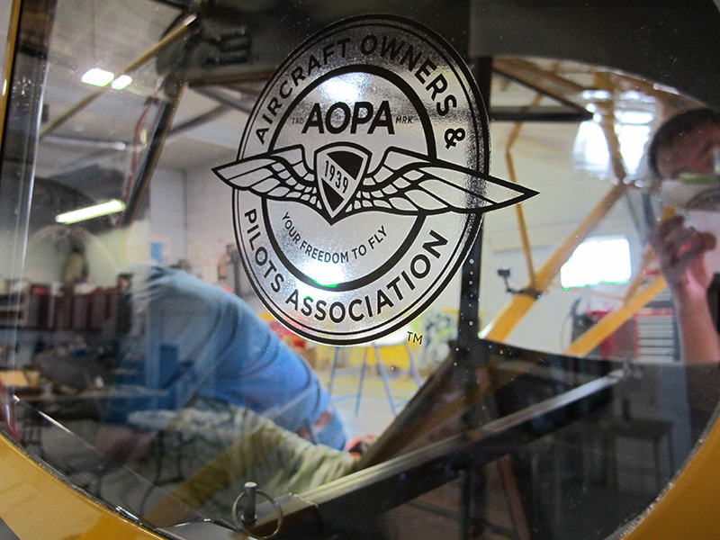 AOPA's classic logo adorns each of the rear windows on the Super Cub.