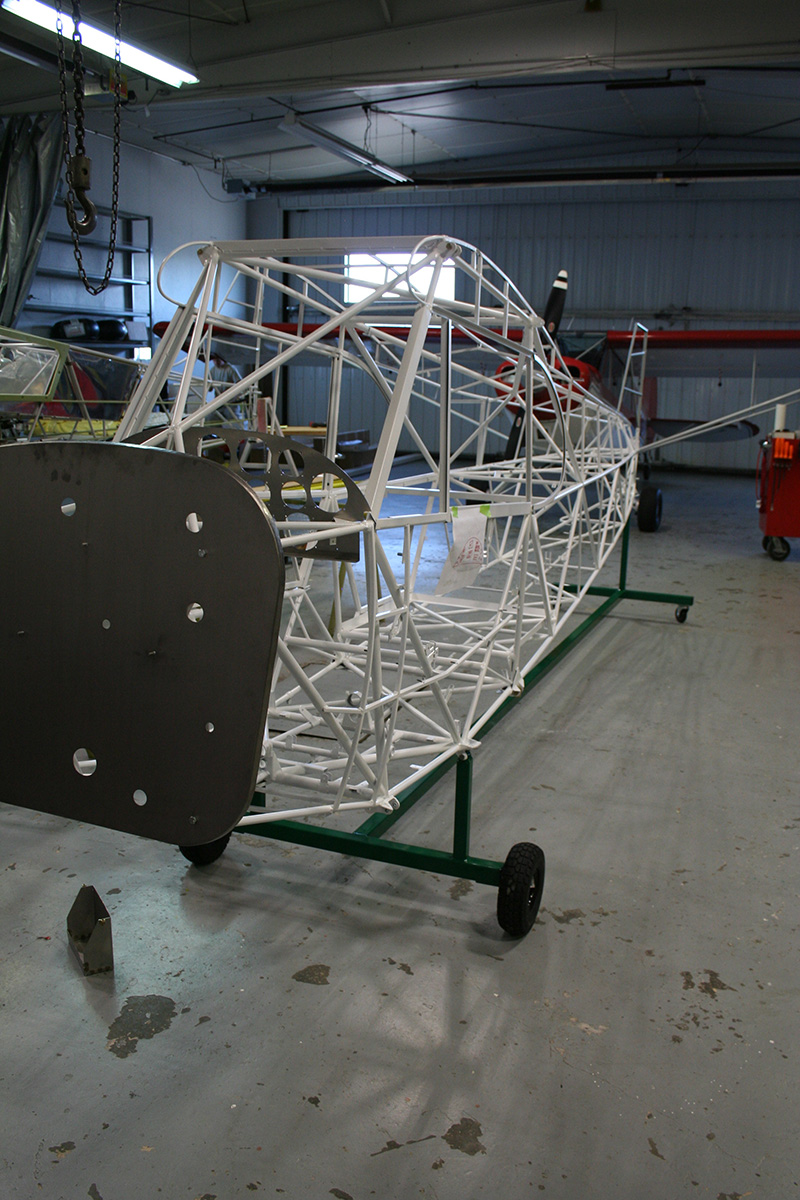 The AOPA Super Cub Sweepstake's fuselage with the titanium firewall from F. Atlee Dodge installed.