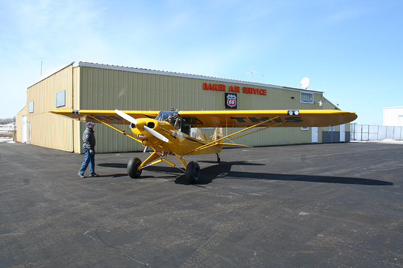 Showtime! Baker Air Service's Darin Meggers prepares to take the AOPA Sweepstakes Super Cub up for its first flight after being completely restored.