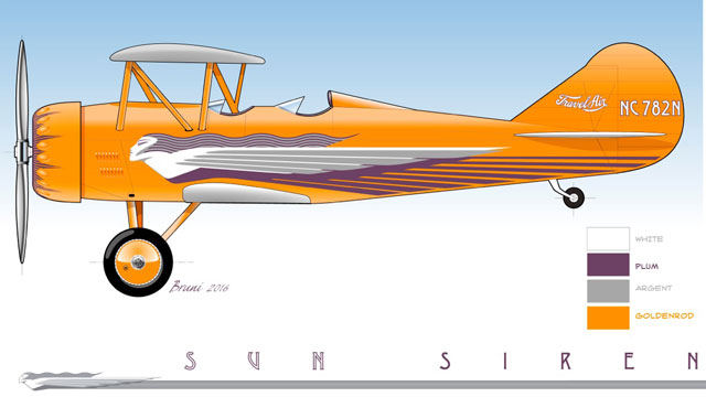 The Sun Siren, a second Travel Air, is nearing completion of a lengthy restoration. Design created by Jim Bruni; image courtesy of Richard Zeiler.