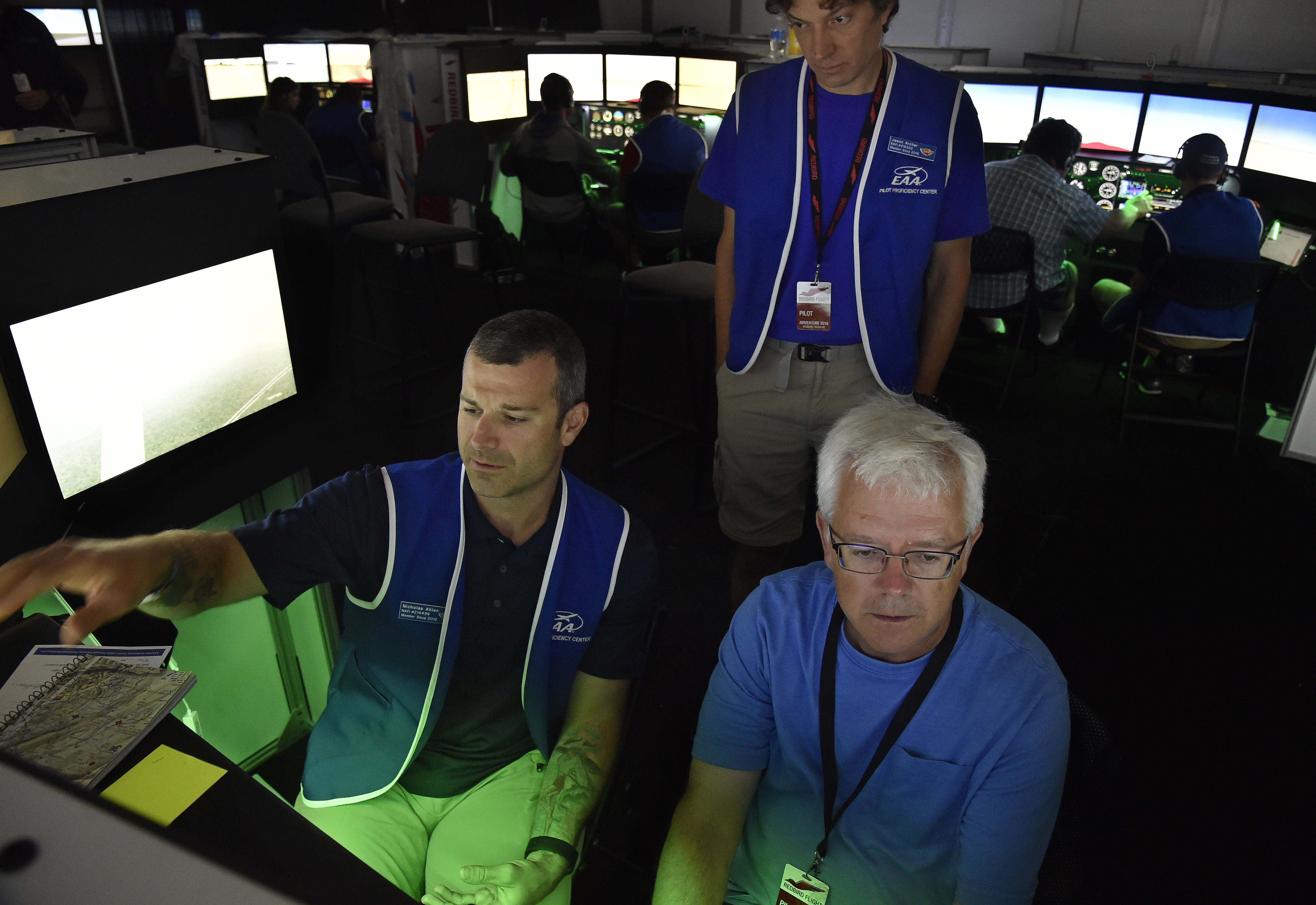 Flight instructor Jason Archer supervises pilots and other instructors at EAA AirVenture's popular Pilot Proficiency Center. Photo by David Tulis.