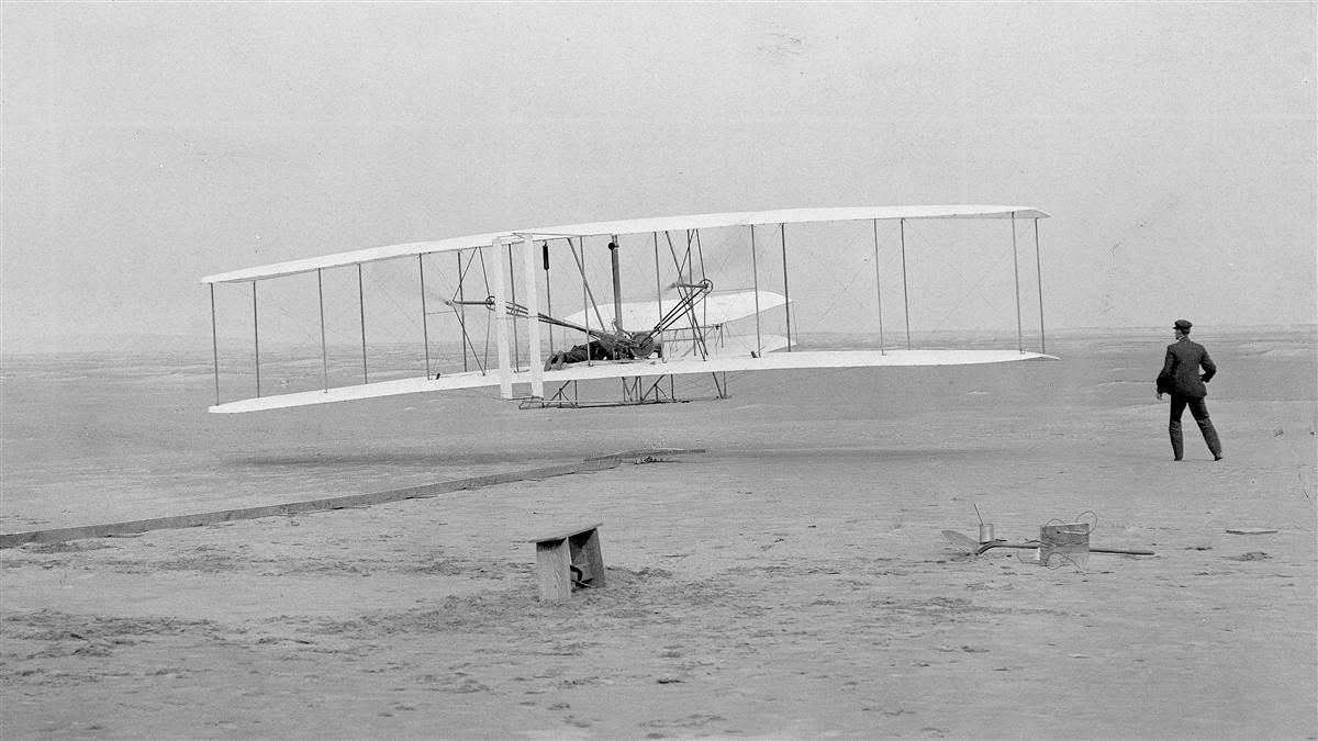 The iconic image of the first powered flight near Kitty Hawk, North Carolina, Dec. 17, 1903. Photo by John T. Daniels.