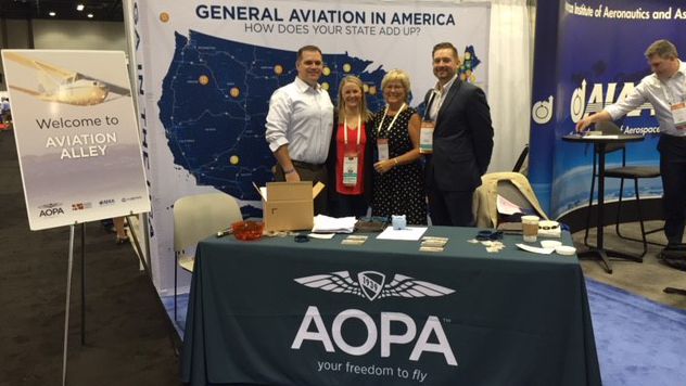AOPA Government Affairs staff members Jared Esselman, Melissa McCaffrey, Dawn Veatch, and Sean Collins represent aviation at the National Conference of State Legislatures.