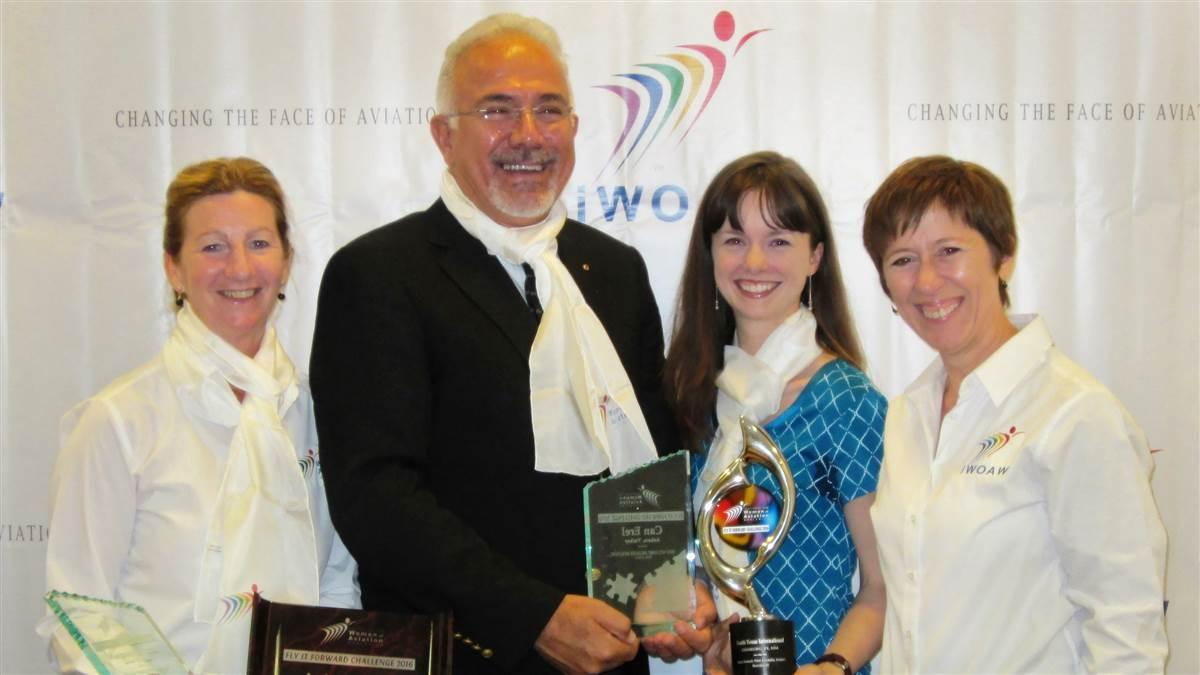 The Institute for Women of Aviation Worldwide announced scholarships, trophies, and prizes will be part of the association's annual celebration of women and aviation March 6-12, 2017. The 2016 trophy winners shown here hailed from Canada, Turkey, and the United States. Photo courtesy of iWOAW.