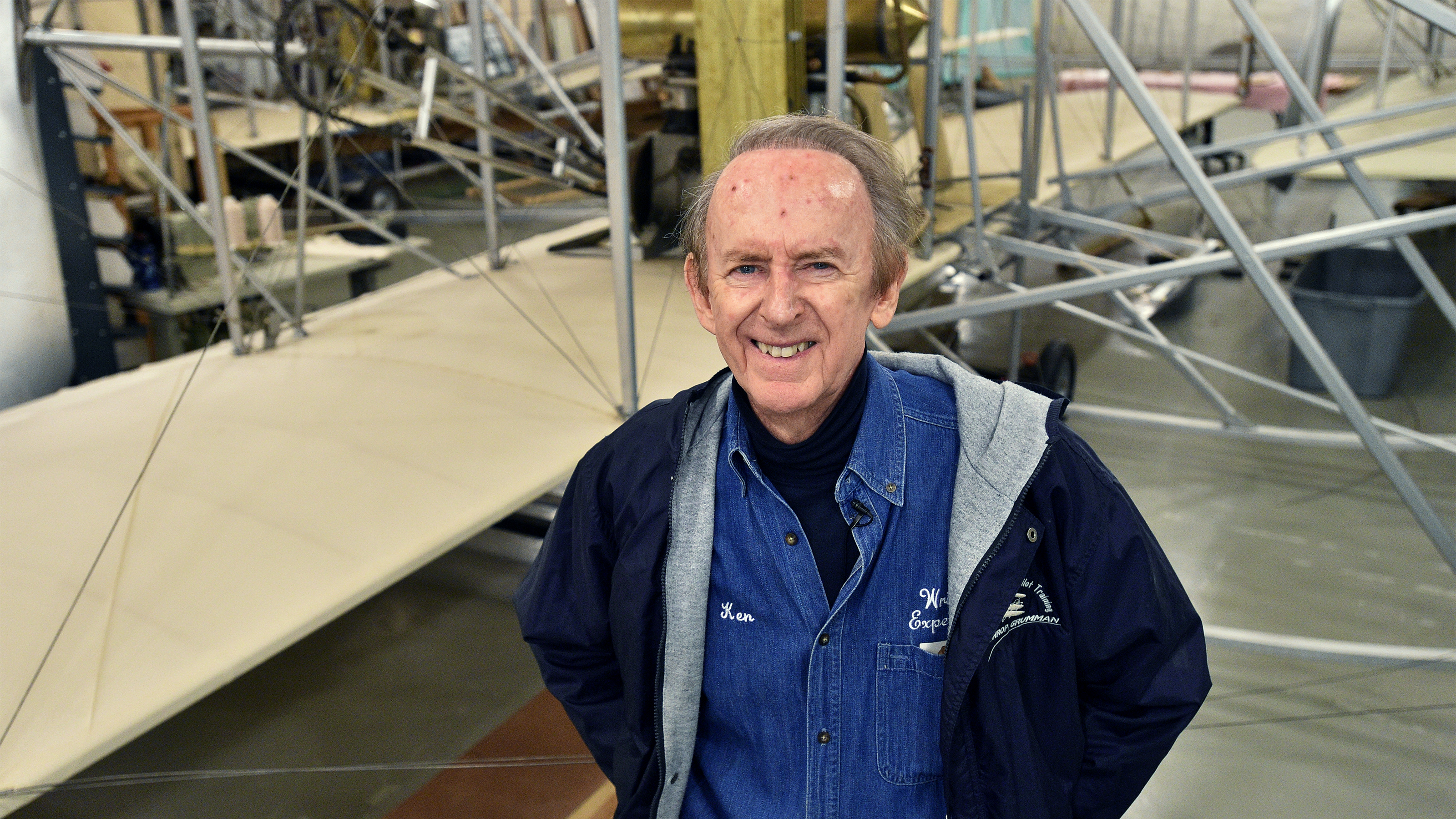 The Wright Experience Museum's Ken Hyde, a retired American Airlines pilot, uses science, technology, engineering, and math concepts to re-create the Wright brothers' aircraft designs in Warrenton, Virginia. Photo by David Tulis.