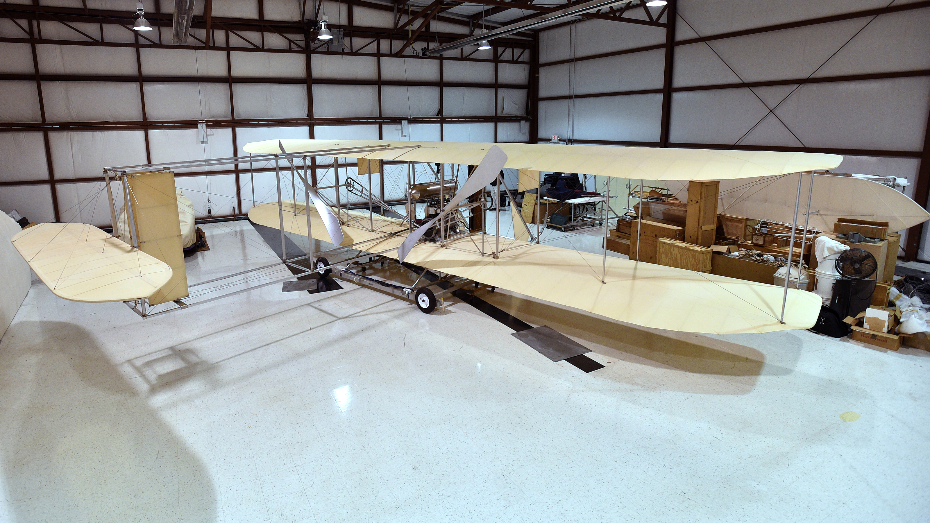 The Wright Experience Museum's Ken Hyde, a retired American Airlines pilot, uses science, technology, engineering, and math concepts to re-create a multitude of the Wright brothers' aircraft designs in Warrenton, Virginia. Photo by David Tulis.