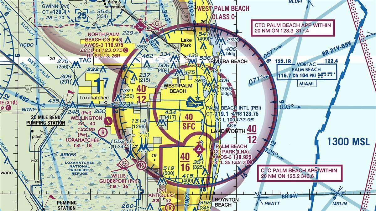 Palm Beach County Park Airport sectional. Courtesy of FAA.