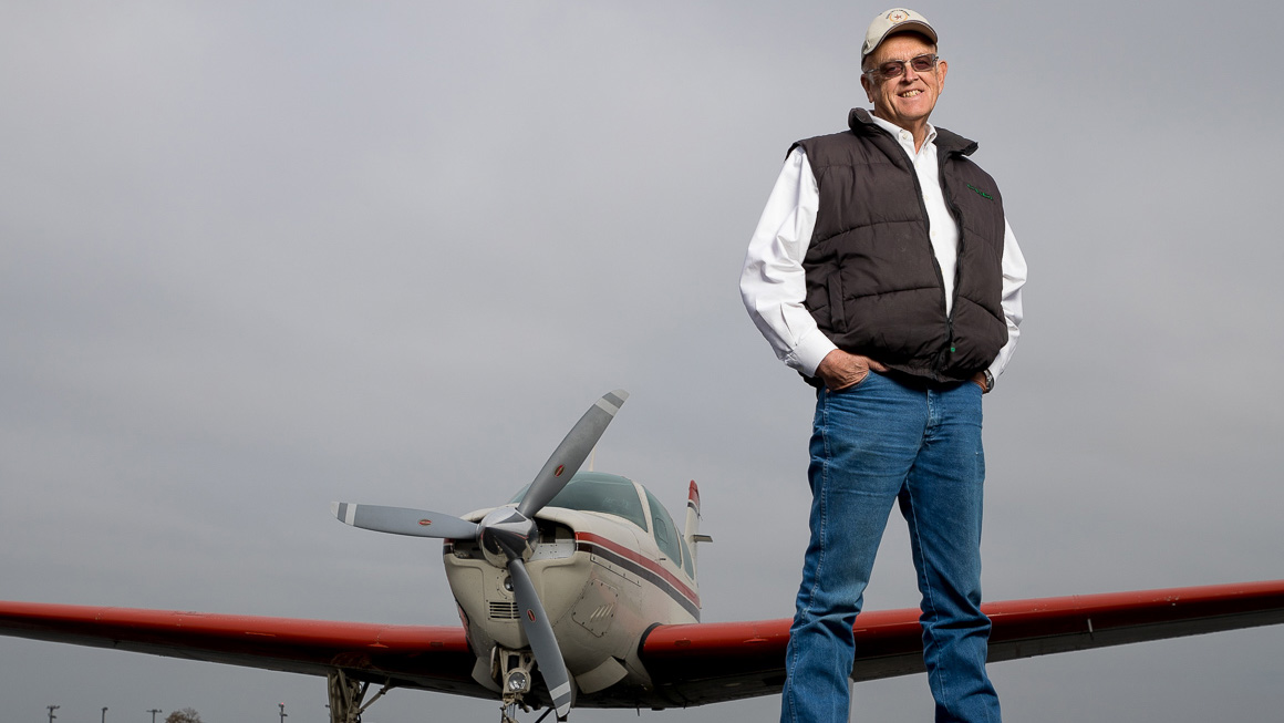 Pilot Jamie Crandall with his 1969 Beechcraft Bonanza in Navasota, Texas, on December 12, 2016. Photo courtesy of Robert Seale.