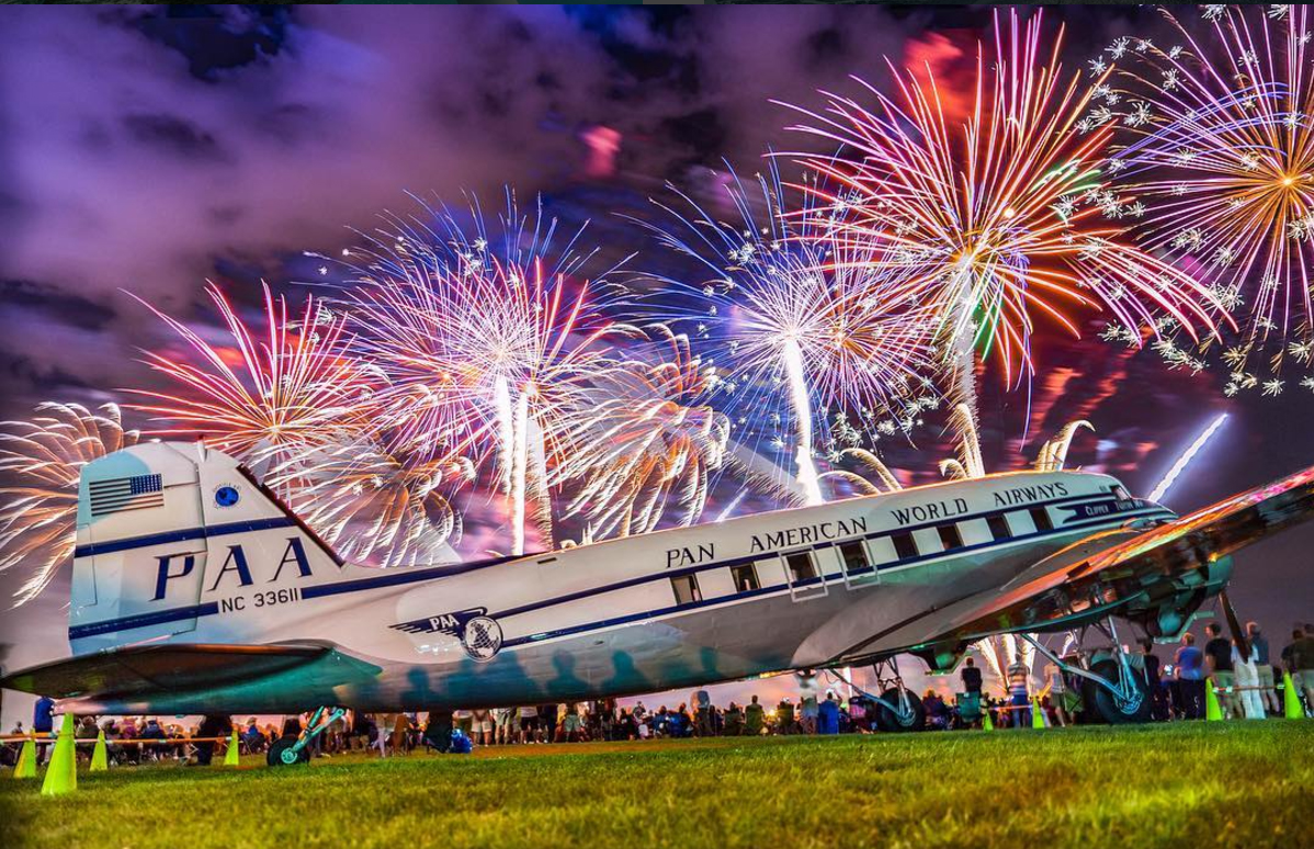 Aviation photographer Deon Mitton's inspirational photo of a DC-3 showered with fireworks is an example of spectacular Instagram photography. Photo courtesy of @deonmitton Deon Mitton.