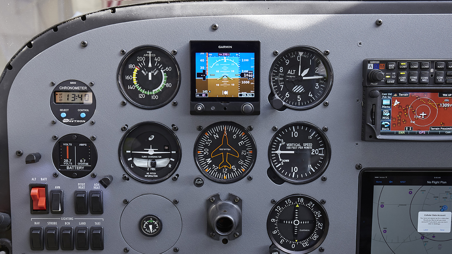 The Garmin G5 is a prominent feature in the 2017 AOPA Sweepstake Cessna Ascend 172 by Yingling.