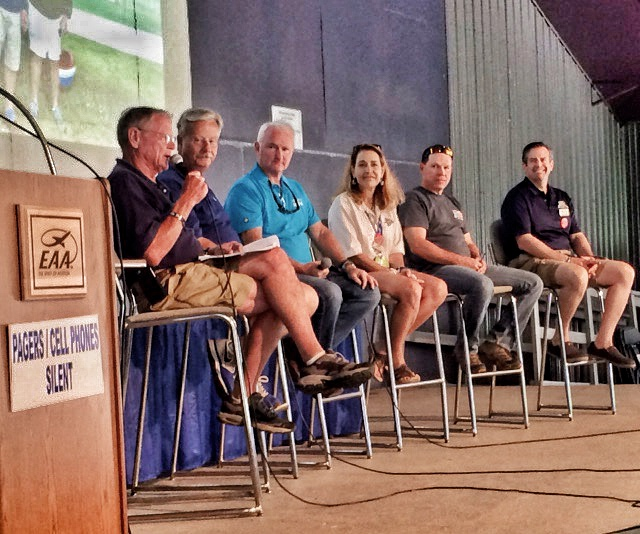 Sen. James Inhofe (R-Okla.), EAA President Jack Pelton, AOPA President Mark Baker, AOPA Pilot Protection Services aviation attorney Kathy Yodice, Rep. Sam Graves (R-Mo.), and SmithAmundsen aviation attorney Alan Farkas participate in a panel discussion at EAA AirVenture.
