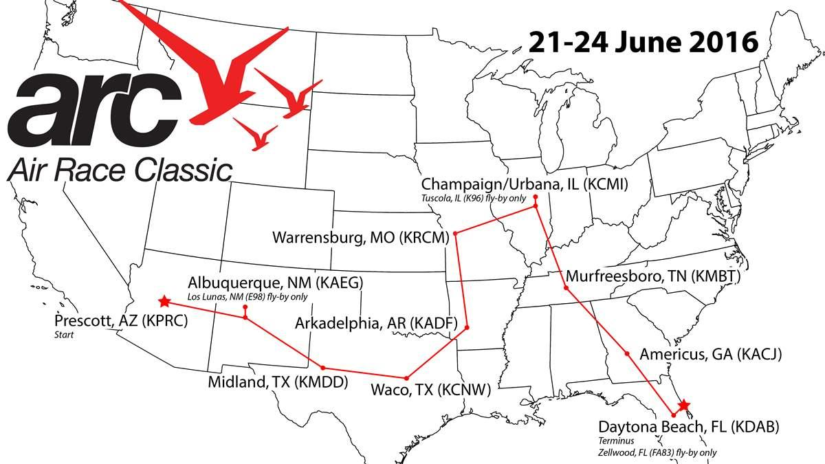 The 2016 edition of the Air Race Classic, the fortieth for the annual event, covers a 2,716-mile route spanning 12 states. Image courtesy of Air Race Classic.