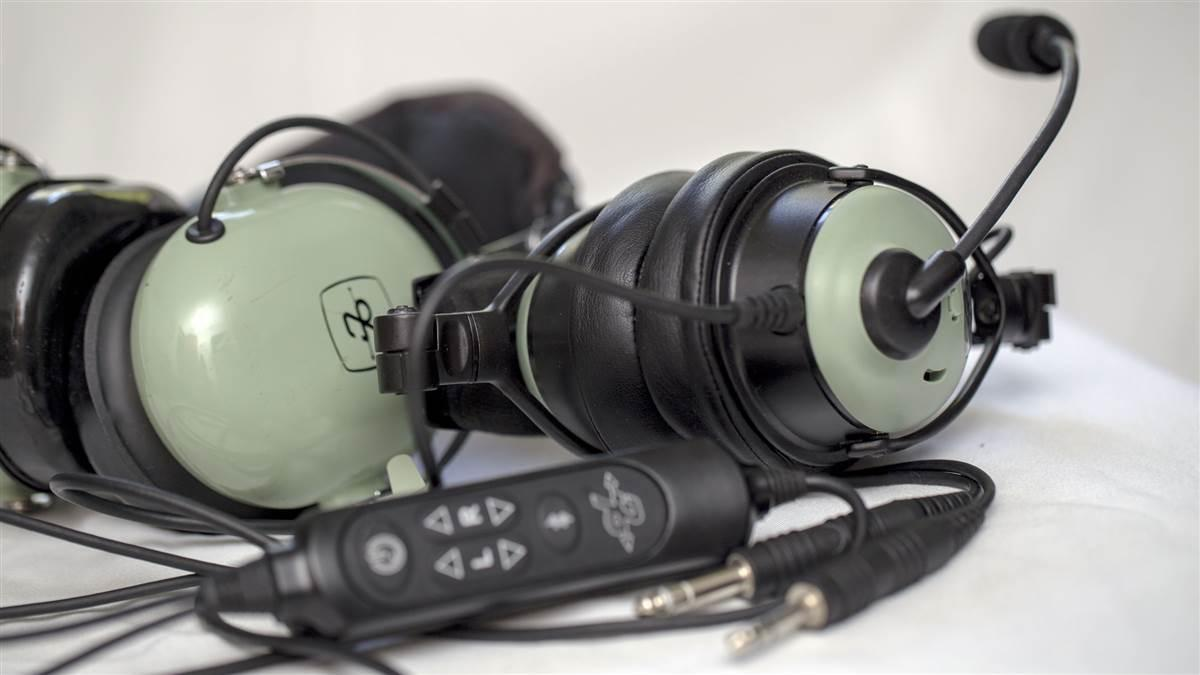 David Clark's new ONE-X headset, at right, is more compact than the previous generation models. Jim Moore photo.