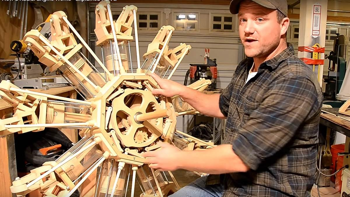 Wood hobbyist Ian Jimmerson took his love of all things mechanical and combined it with his woodworking passion to create a nine-cylinder radial engine out of lumber and plastic. Photo courtesy of Ian Jimmerson.