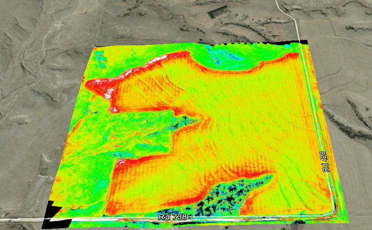 Sophisticated infrared and LiDAR sensors allow drones to capture detailed images of crops and fields that can help farmers increase efficiency and yield. Photo courtesy of Hangar 78 UAV via Facebook.