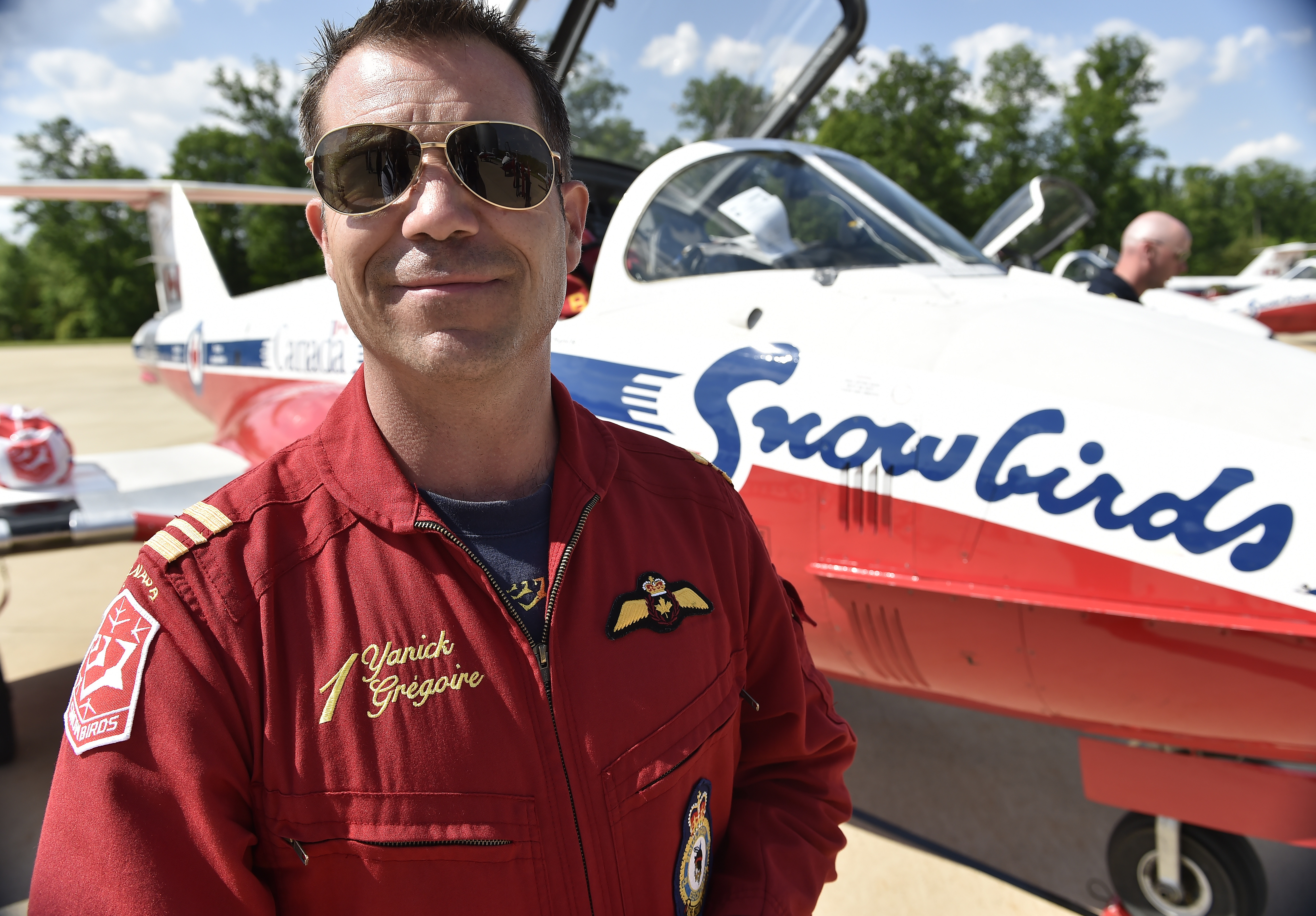Snowbirds Major Yanick 'Crank' Gregoire led a nine-ship flyover of Washington, D.C. as a friendship salute to the United States. Photo by David Tulis.