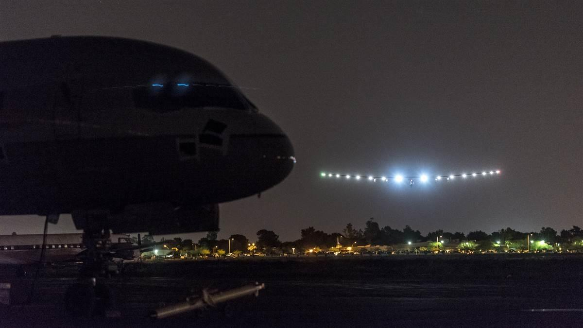 André Borschberg lands Solar Impulse 2 in Phoenix a few minutes ahead of schedule May 2. Photo courtesy of Solar Impulse.