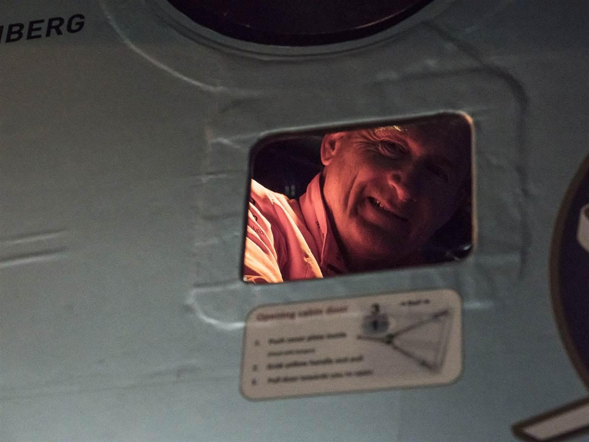 André Borschberg peers through the window after arriving in Phoenix May 2. Photo courtesy of Solar Impulse.