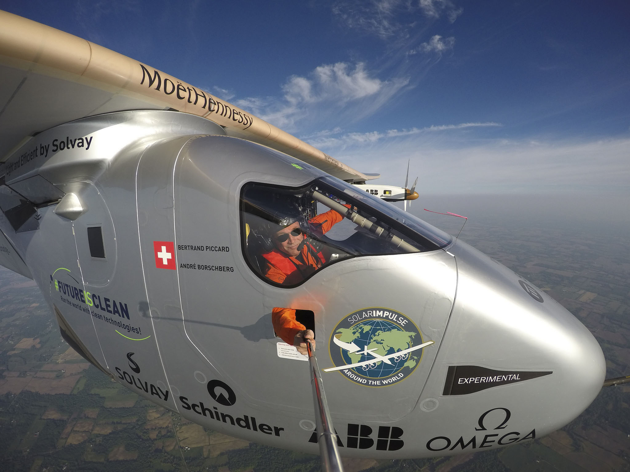 Bertrand Piccard takes a selfie during his flight from Dayton, Ohio to Allentown, Pennsylvania May 25. Photo courtesy of Solar Impulse.