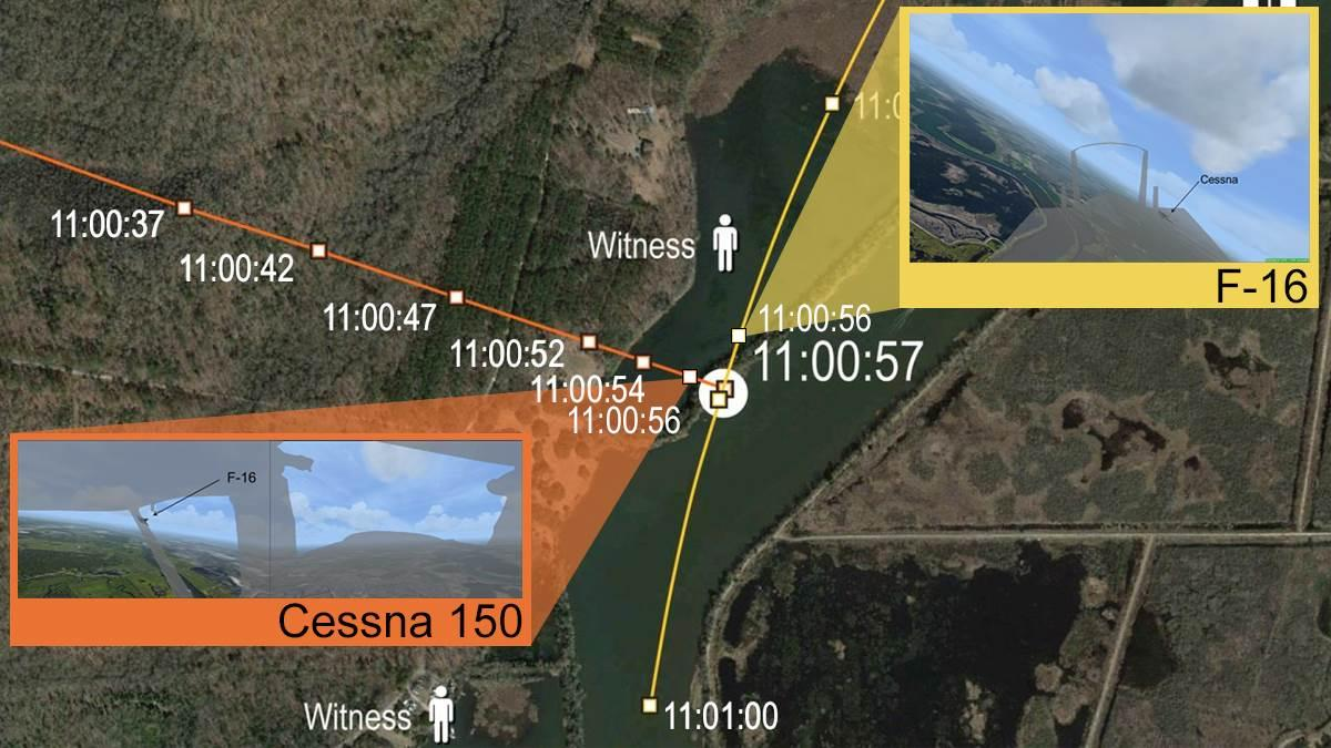 Simulated views from within the Cessna 150 and F-16 a second before collision. Composite image by AOPA staff. Images courtesy of NTSB.