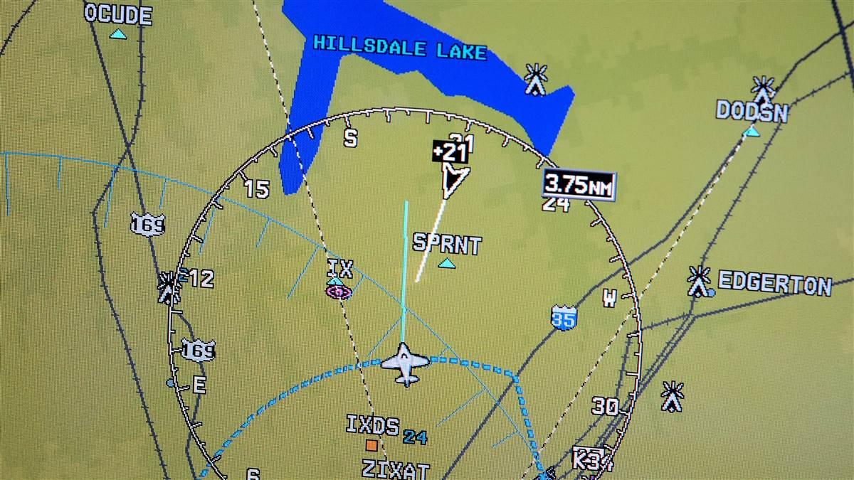 This Garmin G1000 multifunction display shows a non-ADS-B-equipped target ahead and 2,100 feet above. Its Mode C information is processed and transmitted by Flight Information Services-Broadcast (FIS-B), enabled by ADS-B In. Photo by Mike Collins.