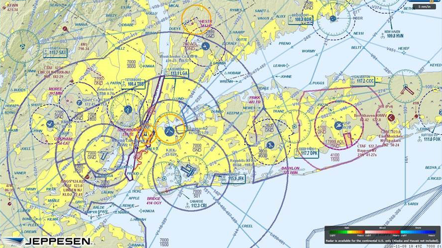 Temporary flight restrictions (TFRs) over portions of New York City. Photo courtesy of Jeppesen.
