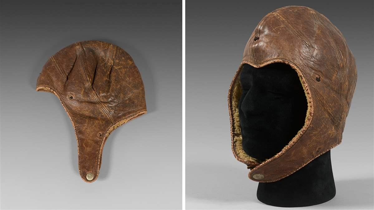 The flying helmet worn by Charles Lindbergh during his historic transatlatnic flight will be sold Nov. 16 in Paris. Photos courtesy of Drouot Estimations.