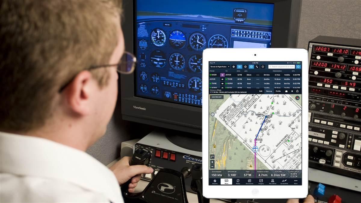 Flight1 Aviation Technologies has released free software that connects ForeFlight Mobile to simulators powered by Microsoft Flight Simulator X or Lockheed Martin Prepar3D. Composite image by AOPA, iPad screen shot courtesy of Flight1 Aviation Technologies.