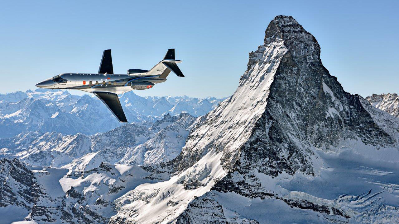A Pilatus PC-24 flies by Matterhorn. Photo courtesy of Pilatus.