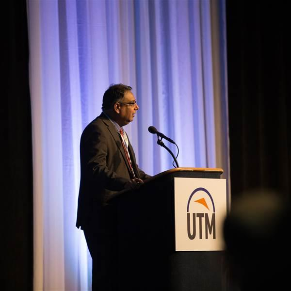 Parimal Kopardekar, principal investigator of the NASA UTM program, addresses the UTM Convention Nov. 9. Jim Moore photo.
