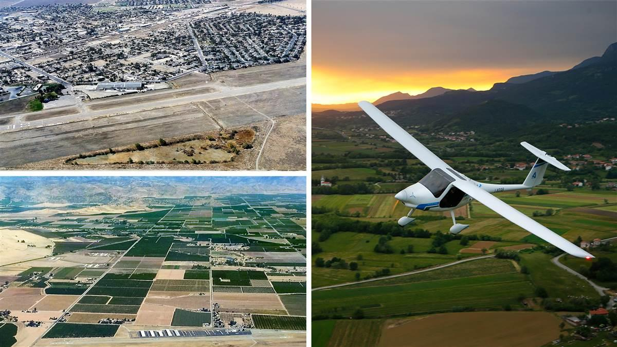 The California towns of Mendota (top left) and Reedley (bottom left) are collaborating on a project that will have them host Pipistrel Alpha Electro trainers. Images of William Robert Johnston Municipal Airport and Reedley Municipal Airport courtesy of Joseph Oldham. Composite photo by AOPA staff.