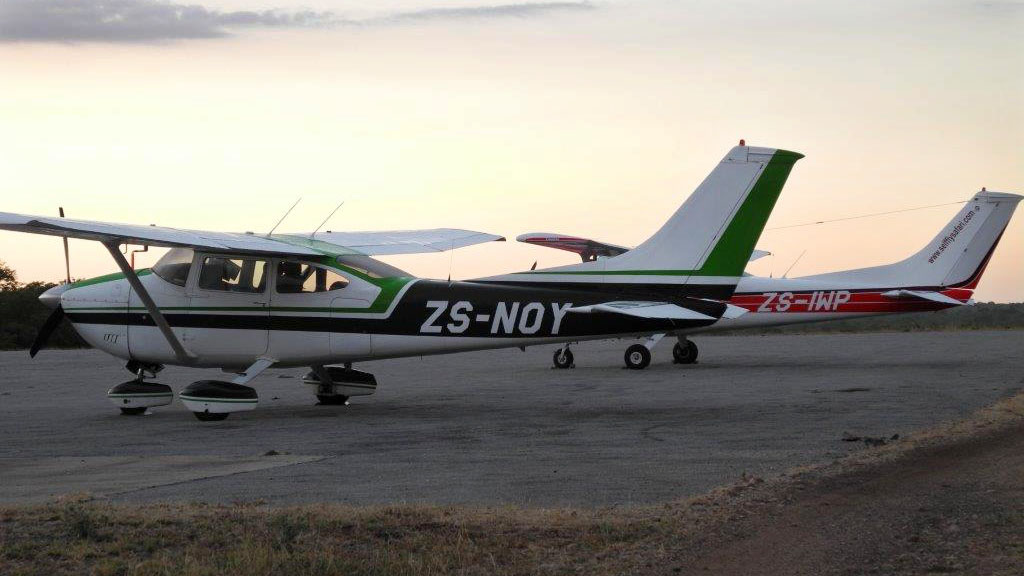 Aircraft park on the ramp at Ngala in South Africa. Photo by Tom  Haines.