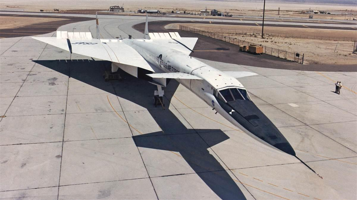 The XB-70 Valkyrie flew at Mach 3 on bended wings in the 1960s. NASA photo.