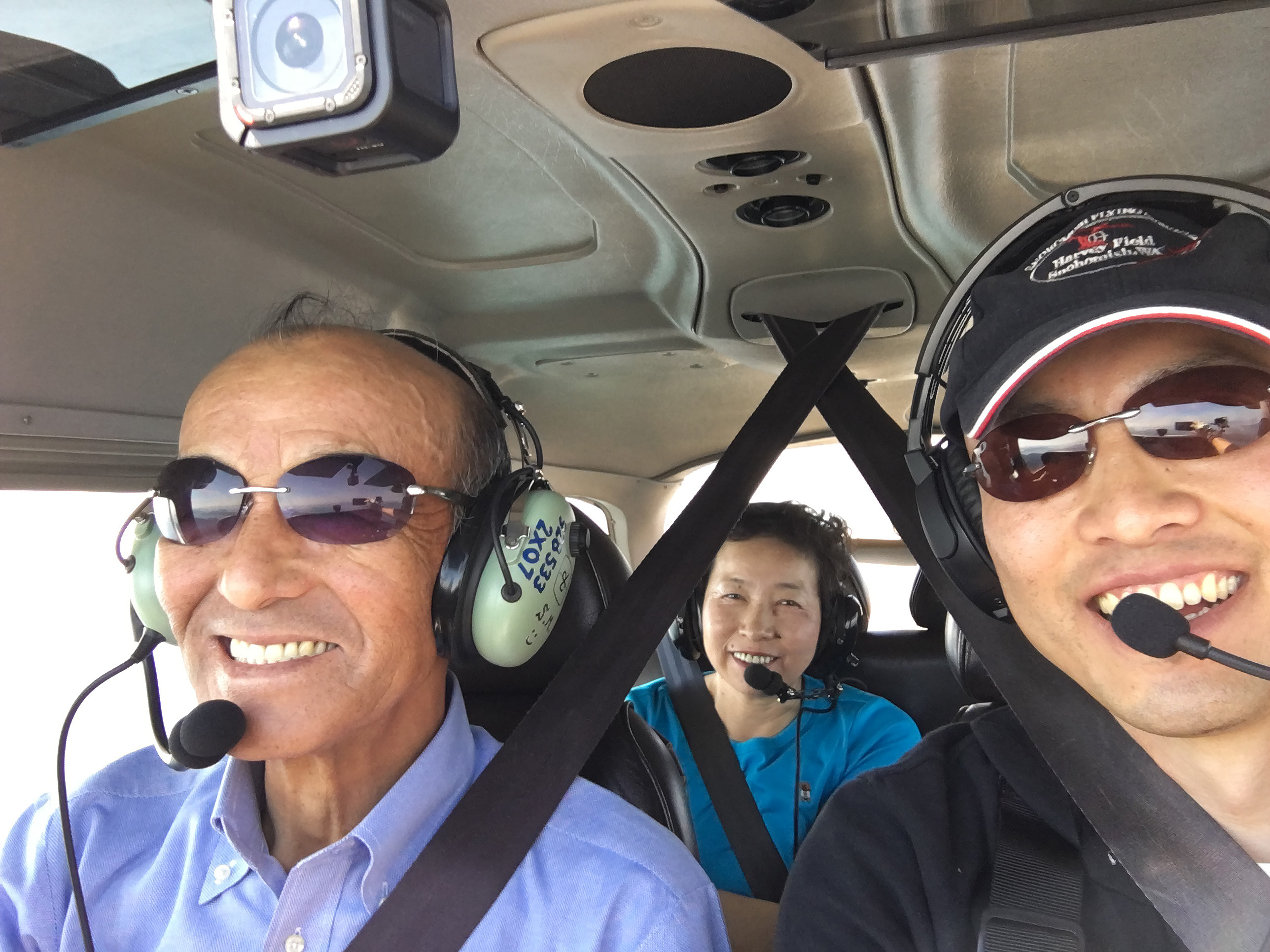 Inspirational speaker and Japanese-born pilot Shinji Maeda lost half his eyesight when he was a teenager but says his parents, shown on a recent flight with Maeda at the controls, were always behind him to help keep his aviation dream alive. Photo courtesy of Shinji Maeda.