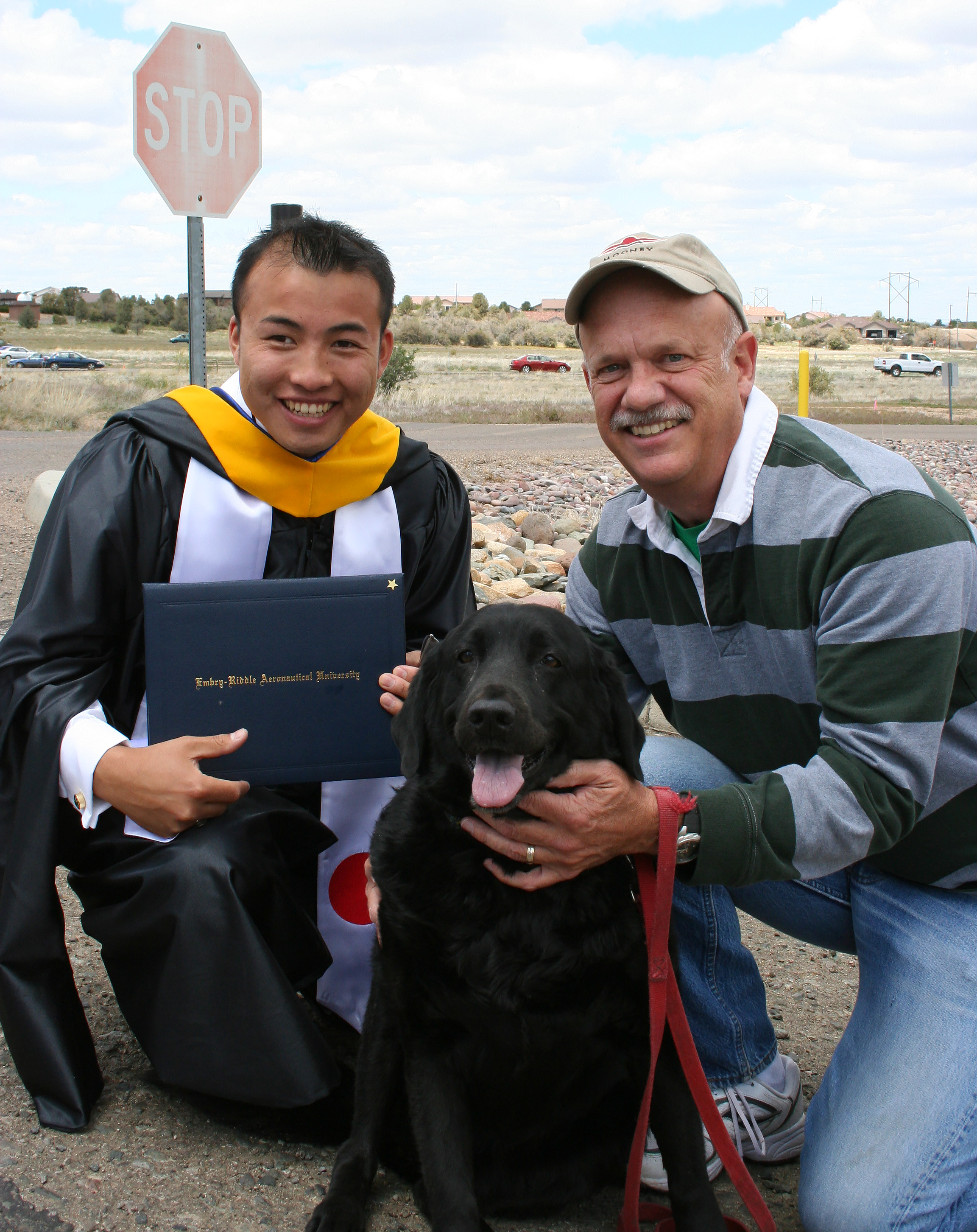 Embry Riddle Aeronautical University teacher Ed Wischmeyer encouraged half-blind pilot Shinji Maeda to pursue his dream. Photo courtesy of Shinji Maeda.
