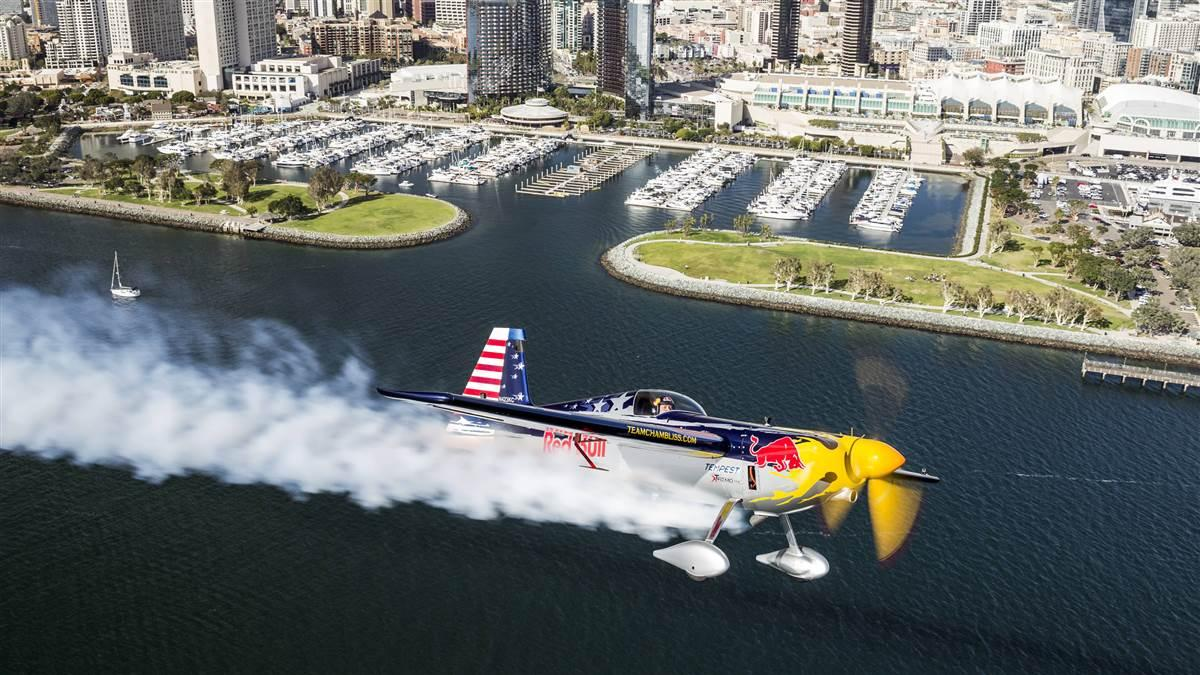 Kirby Chambliss flew over San Diego Bay in March, and this photo shows the waterfront park where race fans will get a spectacular view of the Red Bull Air Race action. Photo by Chris Tedesco/Red Bull Content Pool